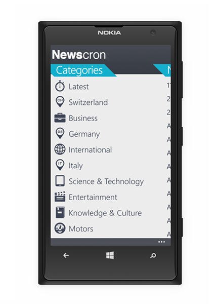 Smart News Aggregator Newscron-WindowsPhone-Categories1