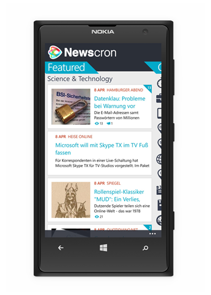 Smart News Aggregator Newscron-WindowsPhone