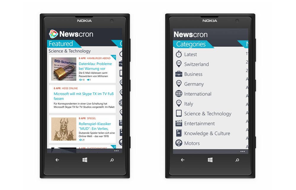 Newscron app - WindowsPhone