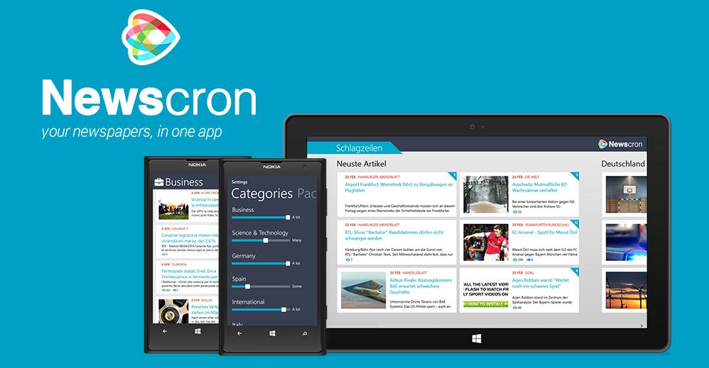 Newscron – news aggregator app: available on Windows Phone and Windows 8