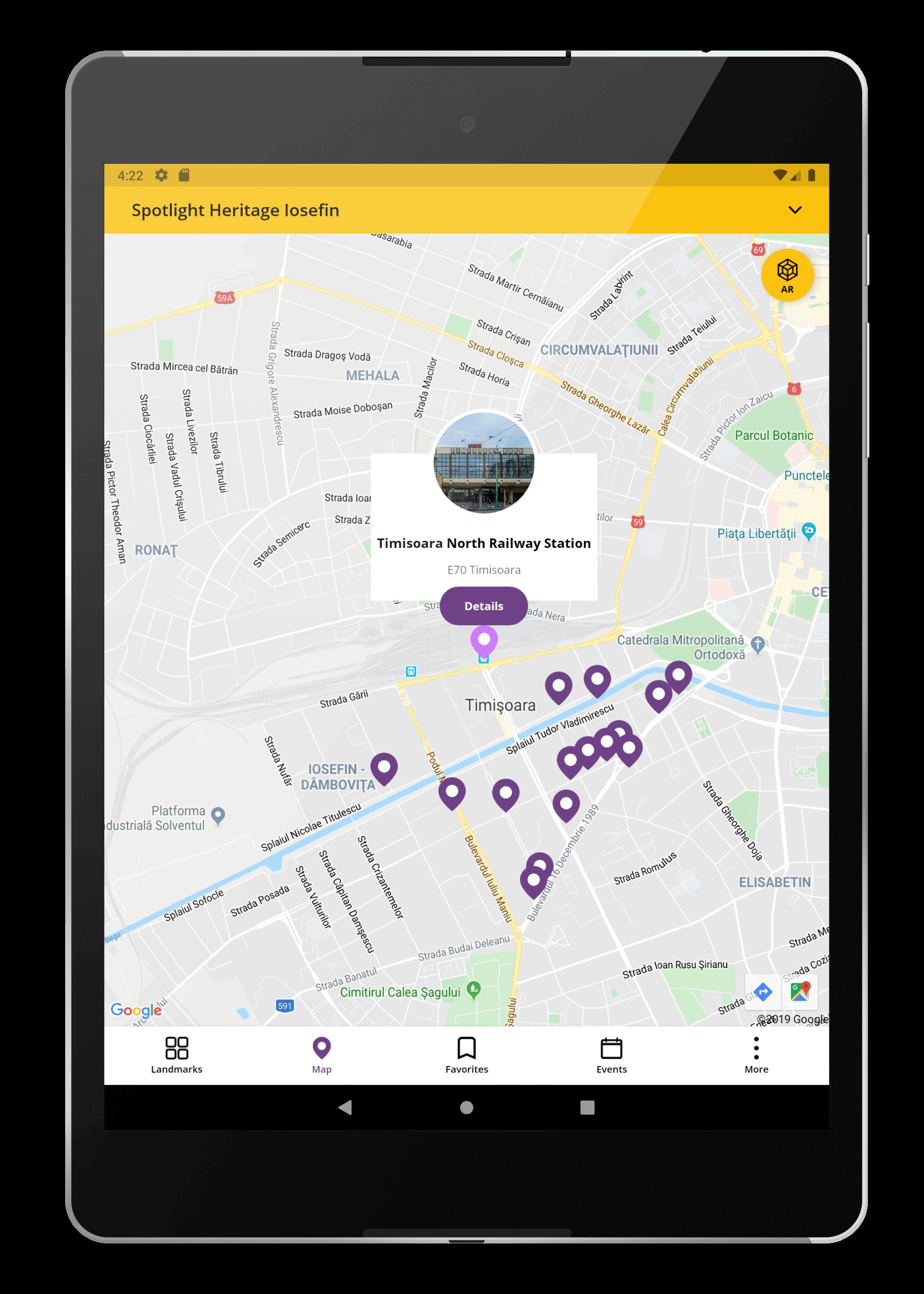 Spotlight Heritage Timisoara Android Tab