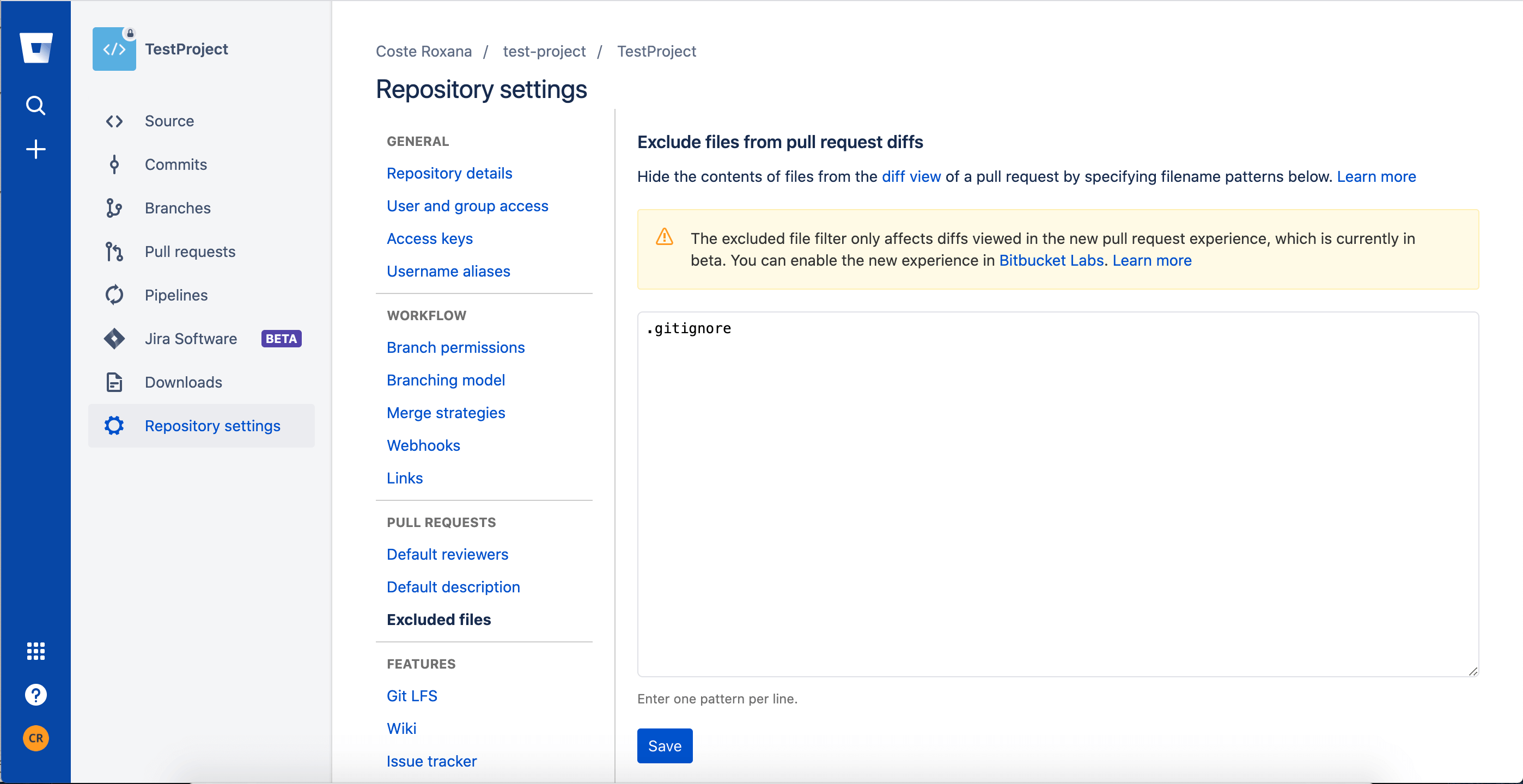 [Cobalt Matters] Trying out the New Bitbucket Features - Excluded files - PR section - Screenshot 2020-04-29 at 10.00.56